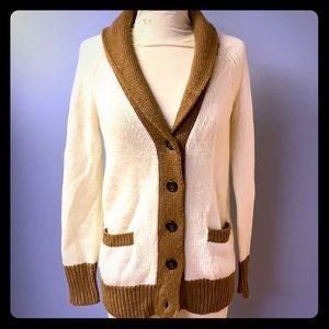 J Crew Color block sweater XS brown cream cardi